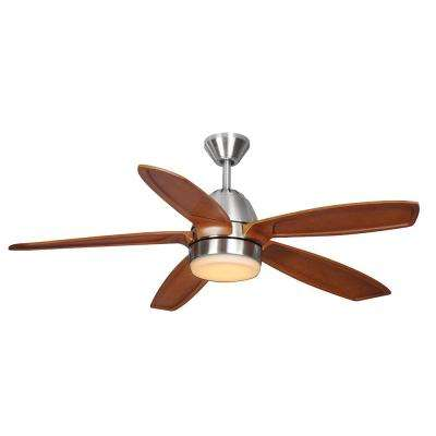 Campo Sano 54 in. Integrated LED Indoor Brushed Nickel Ceiling Fan with Light Kit and Remote Control