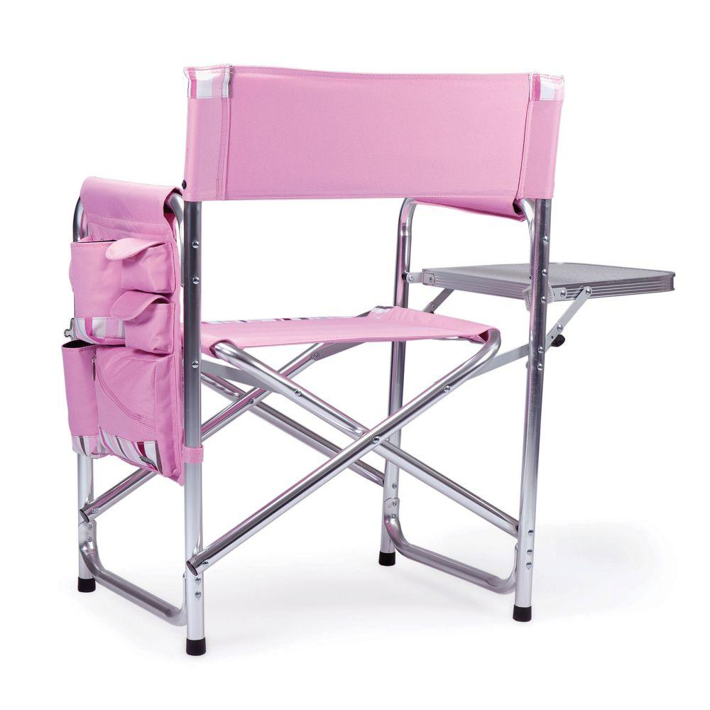 Admirable Picnic Time Pink Sports Portable Folding Patio Chair With Stripes Customarchery Wood Chair Design Ideas Customarcherynet
