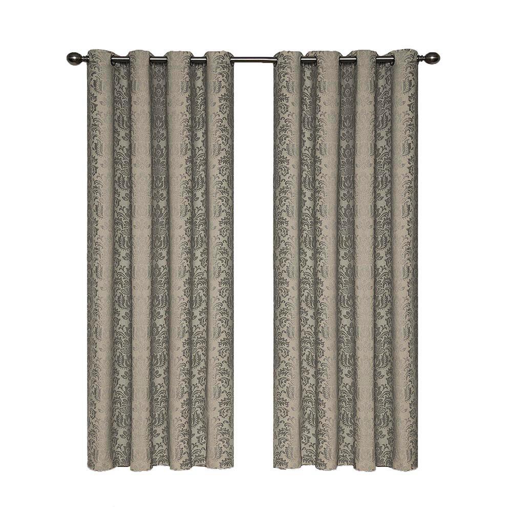 Nadya Print Blackout Window Curtain Panel in Black - 52 in. W x 108 in. L