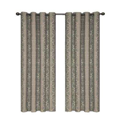 Nadya Print Blackout Window Curtain Panel in Black - 52 in. W x 108 in. L