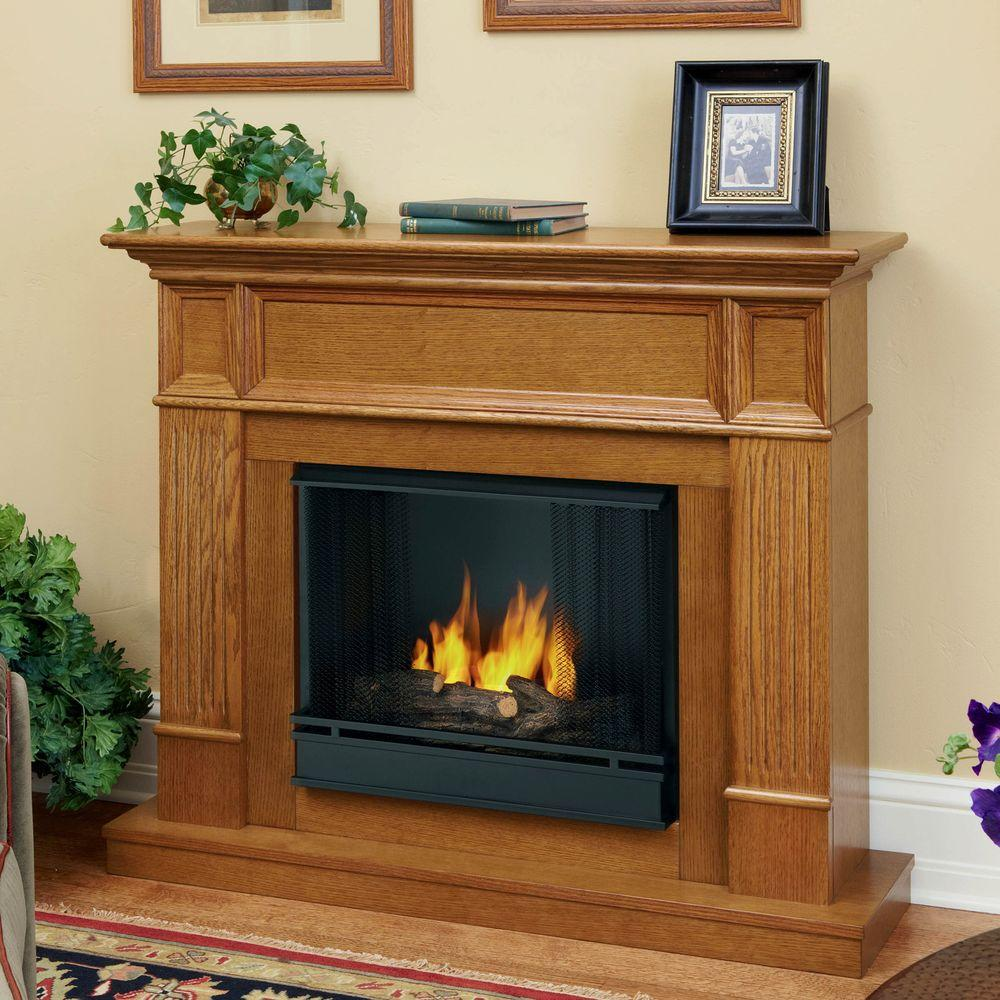 Real Flame Camden 45 in. Convertible Gel Fuel Fireplace in Light Oak