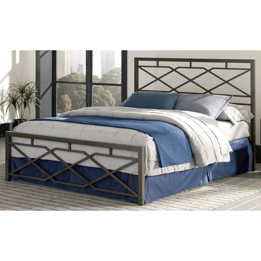 This Review Is FromAlpine Queen Size Snap Bed With Geometric Panel Design And Folding Metal Side Rails In Rustic Pewter