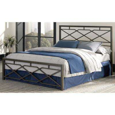 Alpine Queen-Size Snap Bed with Geometric Panel Design and Folding Metal Side Rails in Rustic Pewter