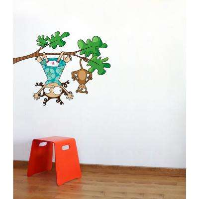 """(43 in x 38 in) Multi-Color """"Lou and Kiki"""" Kids Wall Decal"""