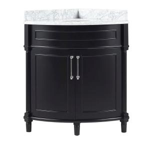 Aberdeen 32 in. W x 23 in. D Corner Vanity in Black with Carrara Marble Top with White Sink