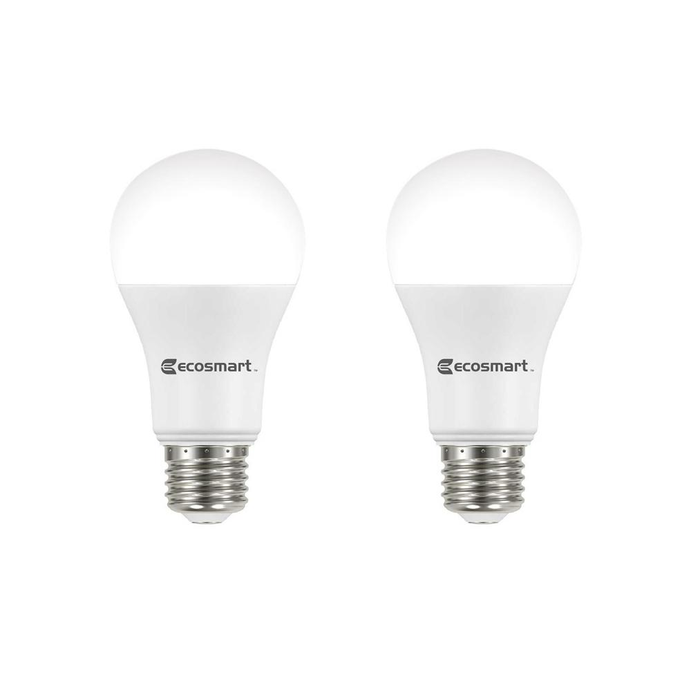 ecosmart 100 watt equivalent a19 dimmable energy star led light bulb bright white 2 pack. Black Bedroom Furniture Sets. Home Design Ideas