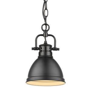 Duncan 1-Light Black Mini-Pendant and Chain with Matte Black Shade