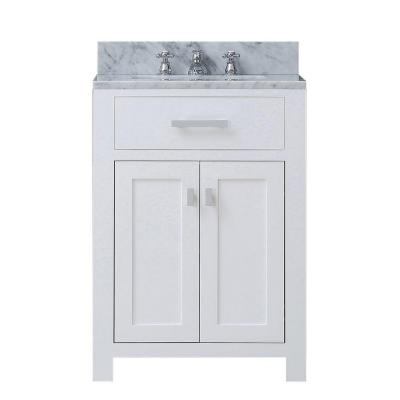 24 in. W x 21 in. D Vanity in White with Marble Vanity Top in Carrara White and Chrome Faucet