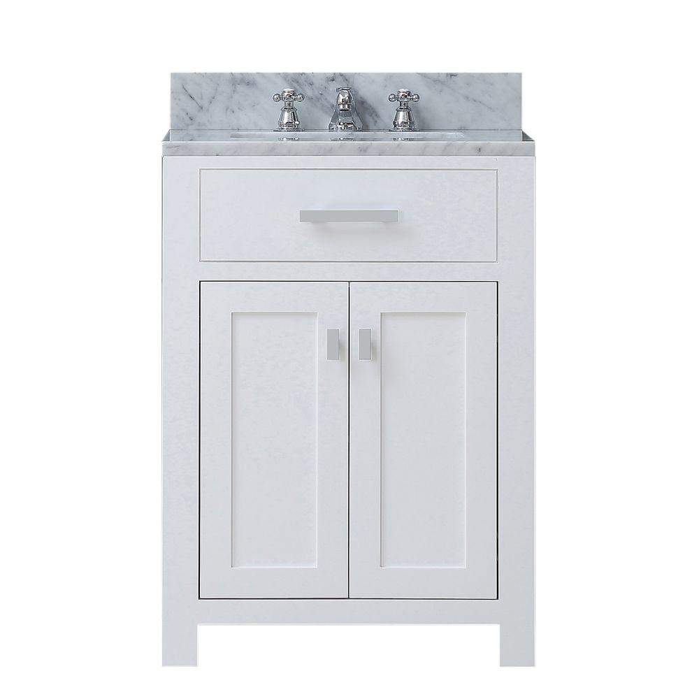 Water Creation 24 in. W x 21 in. D Vanity in White with Marble ...