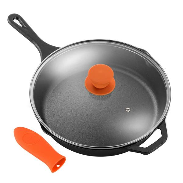 10 in. Pre-Seasoned Cast Iron Frying Pan with Glass Lid and Silicone Handle