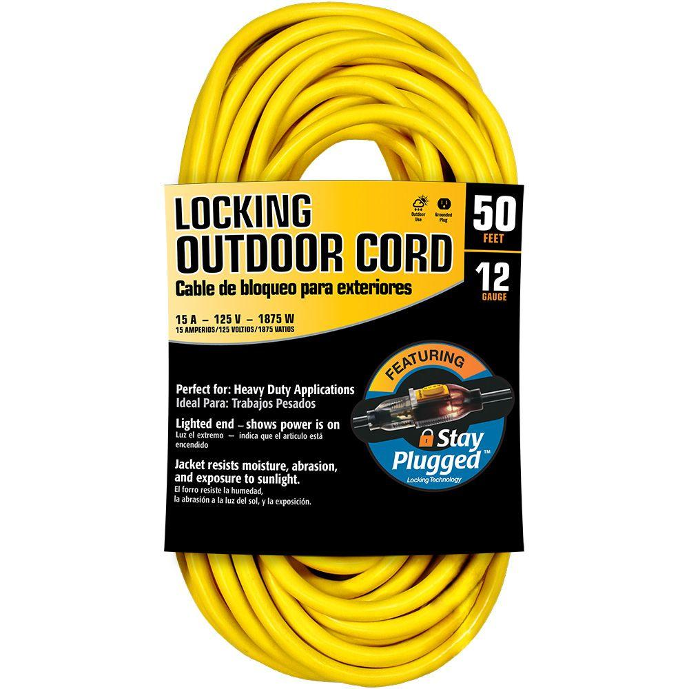 Cerrowire 50 ft. 12/3 Stay Plug Extension Cord - Yellow