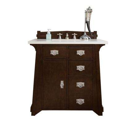 Pasadena 36 in. W Single Vanity in Burnished Mahogany with Marble Vanity Top in Carrara White with White Basin