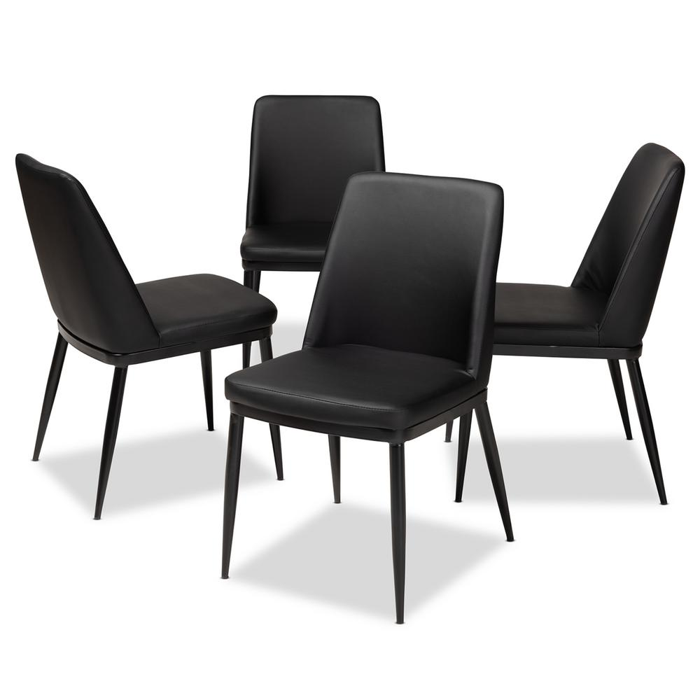 black leather dining room chairs | Baxton Studio Darcell Black Faux Leather Upholstered ...