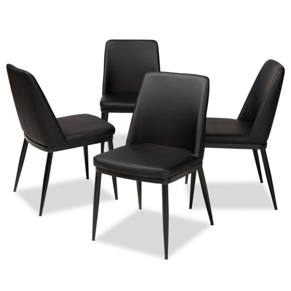 Baxton Studio Darcell Black Faux Leather Upholstered Dining Chair Set Of 4 146 4pc 8789 Hd The Home Depot