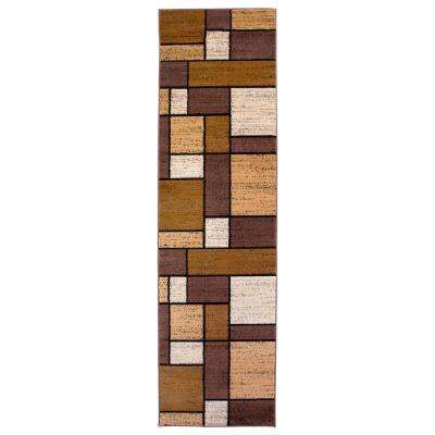 """Contemporary Geometric Boxes Brown Runner Rug 2' x 7' 2"""""""