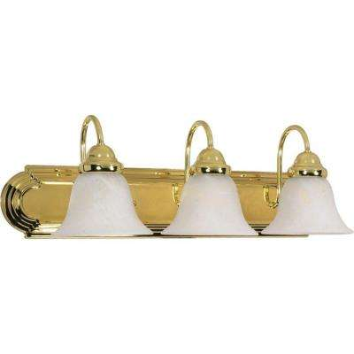 Sophrosyne 3 Light Polished Brass Bath Vanity Light With Alabaster Glass