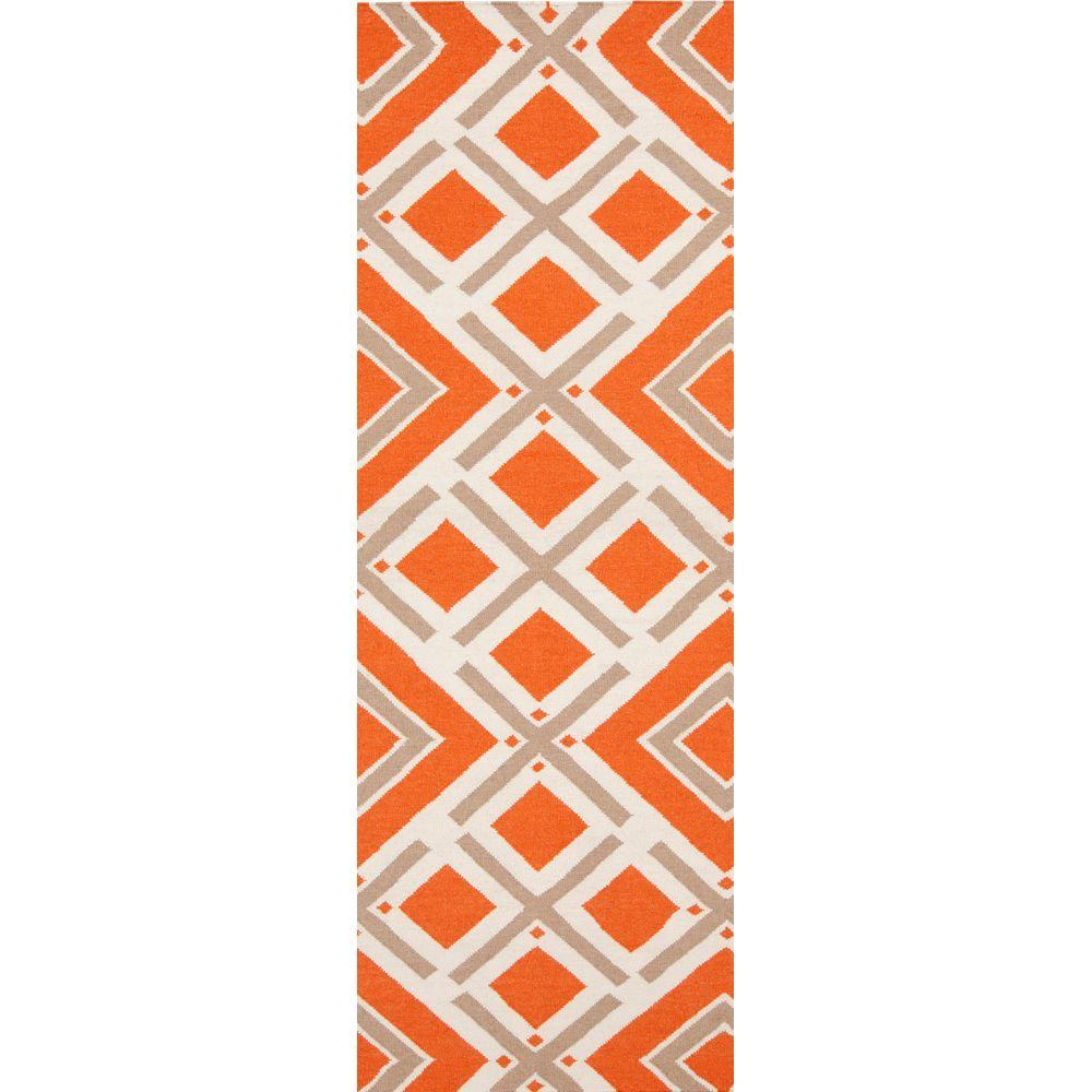 Surya Jill Rosenwald Orange-Red 2 ft. 6 in. x 8 ft. Flatweave Runner