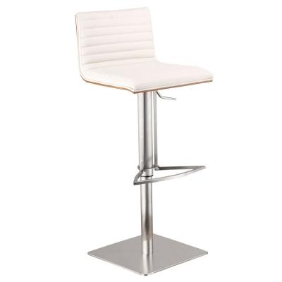 Cafe 31-41 in. White Faux Leather with Brushed Stainless Steel Finish and Walnut Veneer Back Adjustable Swivel Bar Stool