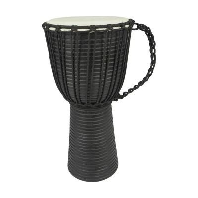 Black and Cream Handmade Wooden Drum Decor with Carved Leather Top