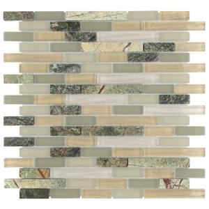 Tessera Piano Rainforest 11-3/4 in. x 12 in. x 8 mm Glass and Stone Mosaic Tile