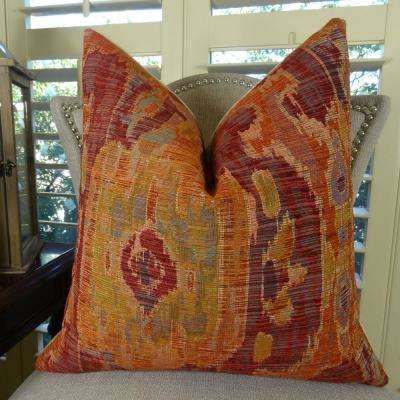 Bear Canyon Ikat 16 in. x 16 in. Magenta, Coral and Blue Hypoallergenic Down Alternative Double Sided Throw Pillow