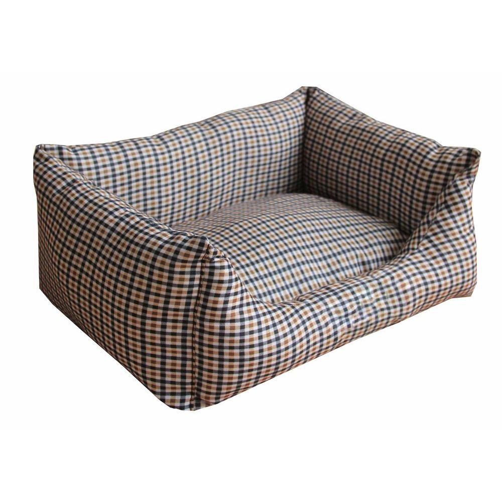 Rectangular Medium Light Brown and Blue Plaid Bed