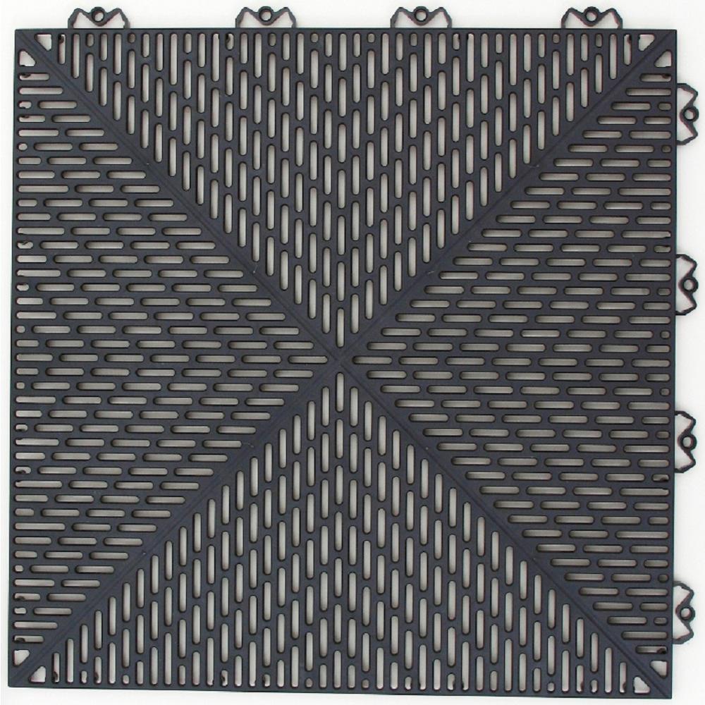 Bergo Unique 14.9 in. x 14.9 in. Graphite Polypropylene Garage Floor Tile (54 sq. ft. / case)