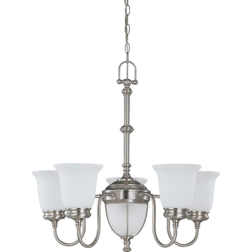 Glomar Salem Brushed Nickel 5 + 2 Light Chandelier With Frosted Linen Glass-DISCONTINUED