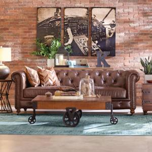 Amazing Home Decorators Collection Gordon Brown Leather Loveseat Bralicious Painted Fabric Chair Ideas Braliciousco