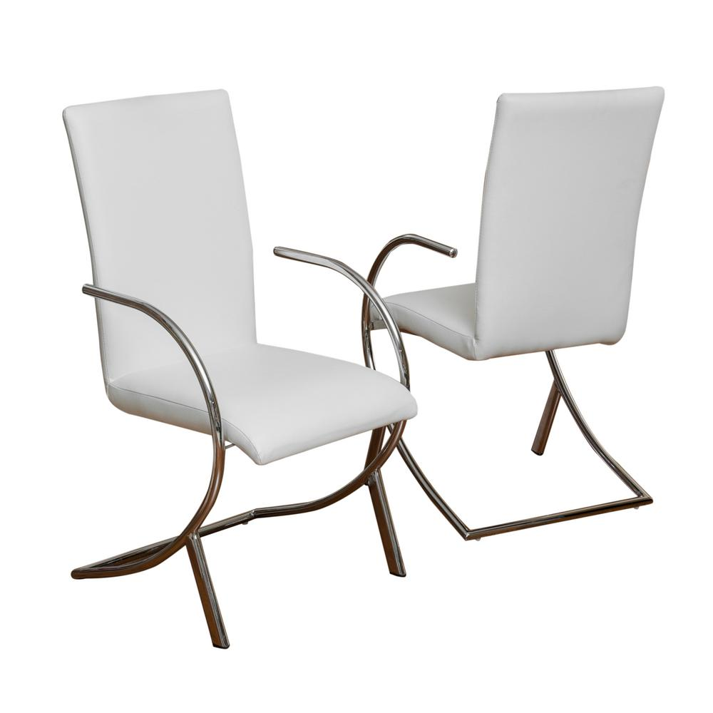 Noble House Lydia Off White Leather/ Chrome Dining Chair
