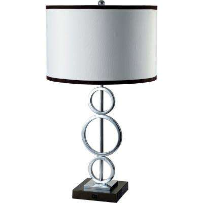 26 in. 3 Ring Silver Metal Table Lamp (White) with Convenient Outlet