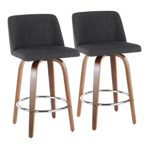 Toriano 26 in. Walnut and Charcoal Fabric Counter Stool with Round Chrome Footrest (Set of 2)