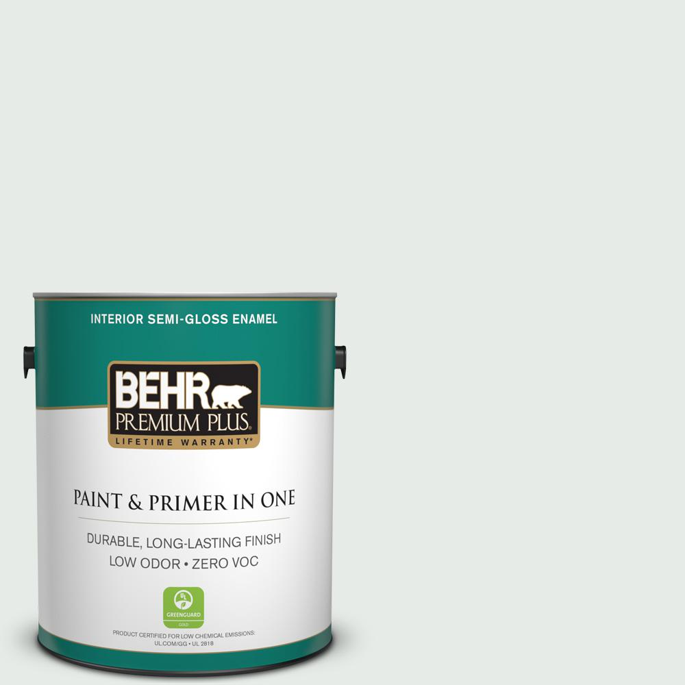 BEHR Premium Plus 1-gal. #BL-W8 Frothy Surf Semi-Gloss Enamel Interior Paint