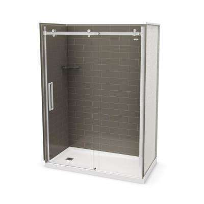 Utile Metro 32 in. x 60 in. x 83.5 in. Left Drain Alcove Shower Kit in Thunder Grey with Chrome Shower Door