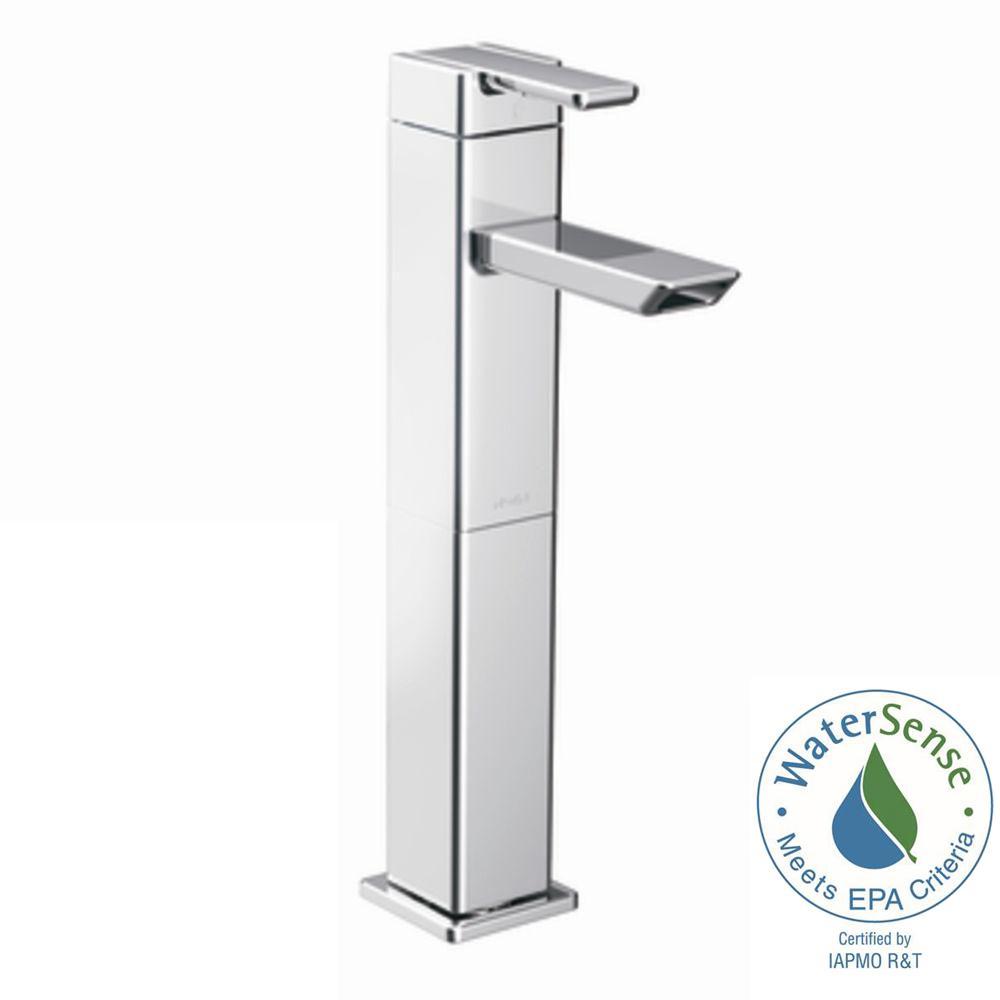 90 Degree Single Hole Single-Handle Vessel Bathroom Faucet in Chrome