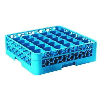 19.75x9.75 in. 36-Compartment 1 Extender Glass Rack (for Glass 4.19 in. Diameter, 4.75 in. H) in Blue (Case of 4)