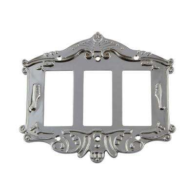 Victorian Switch Plate with Triple Rocker in Bright Chrome