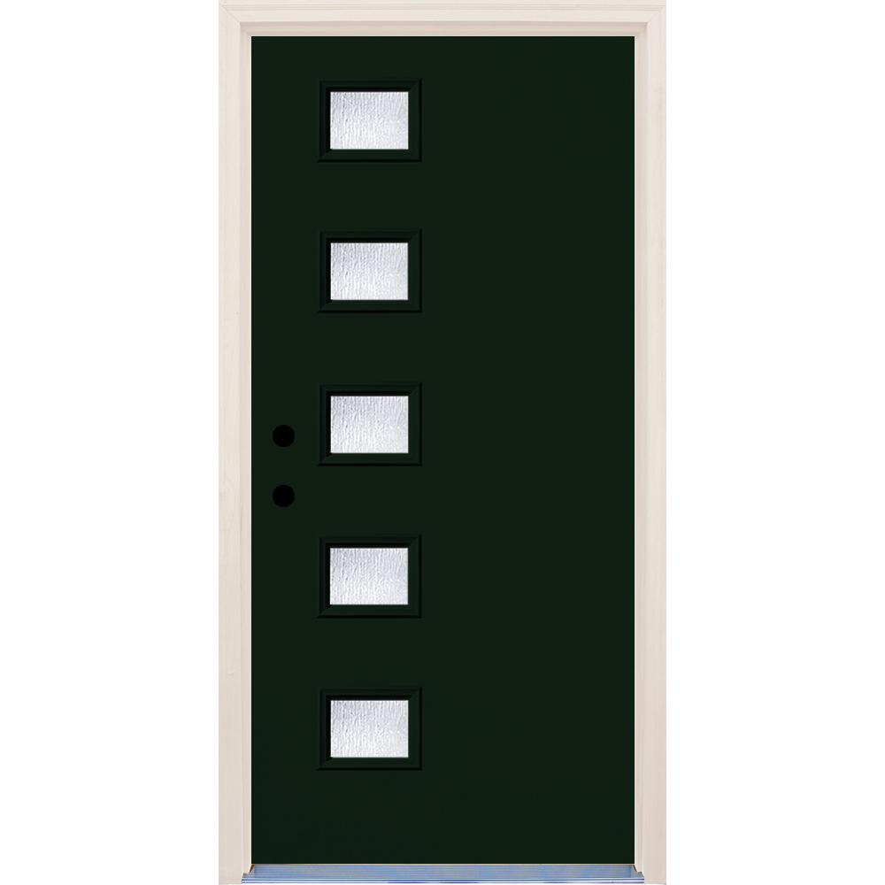 Builder's Choice 36 in. x 80 in. Fairway 5 Lite Rain Glass Painted Fiberglass Prehung Front Door with Brickmould