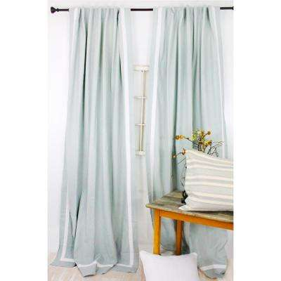 84 in. L Spa Blue with White Trimmed Curtain Panel