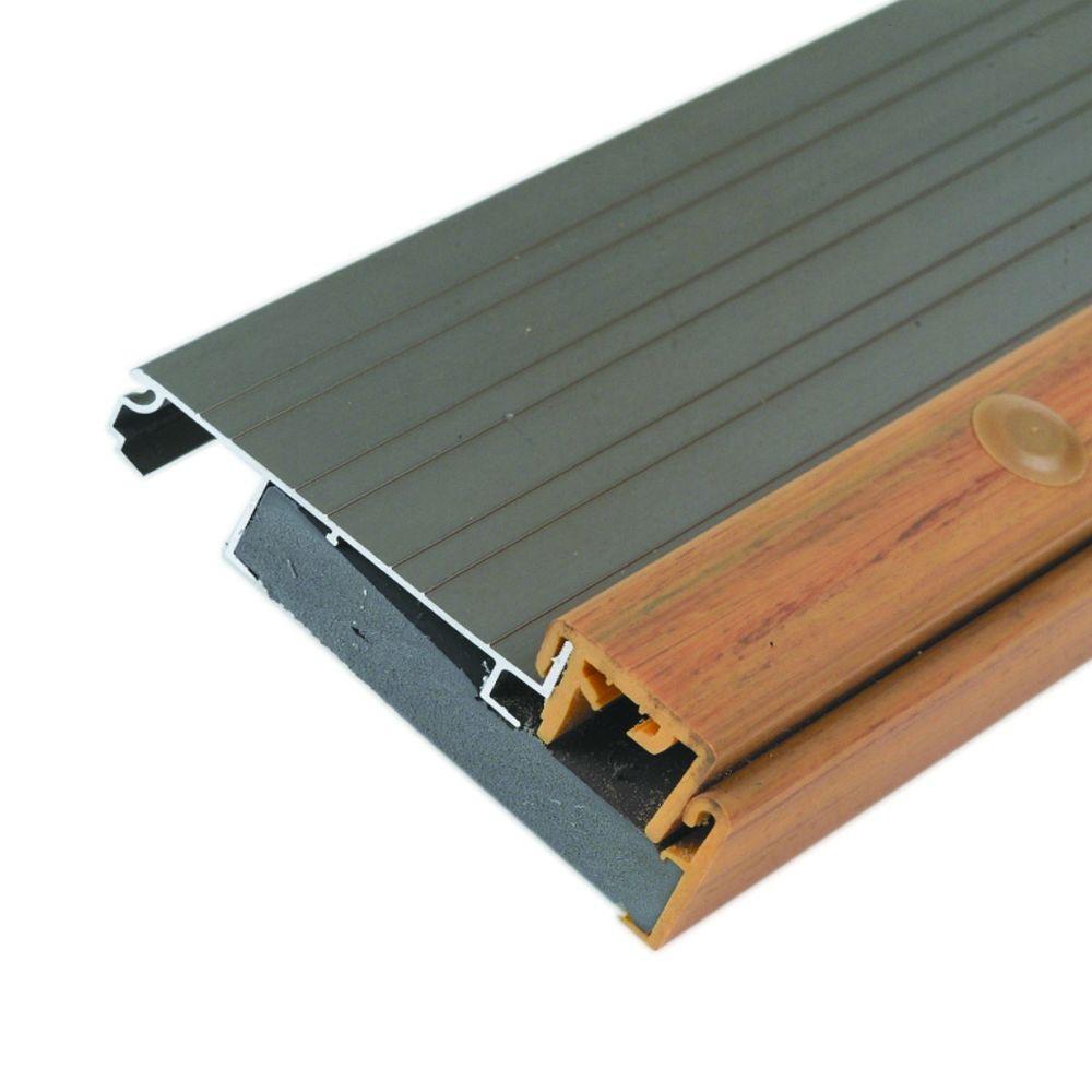 Adjustable Height 4-1/2 in. x 65-1/2 in. Satin Nickel Aluminum Threshold, Grays