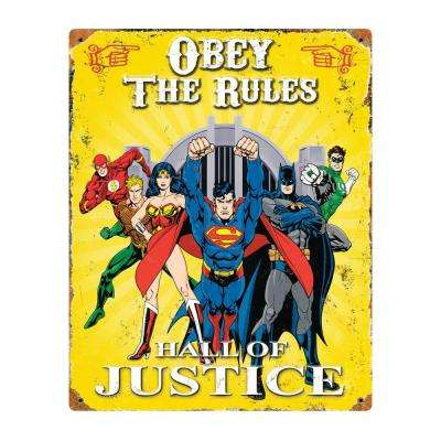Justice League Embossed Metal Sign