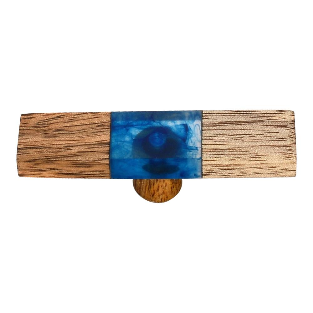 Mascot Hardware Fusion 2-7/8 in. Wood and Smoky Blue Cabinet Knob