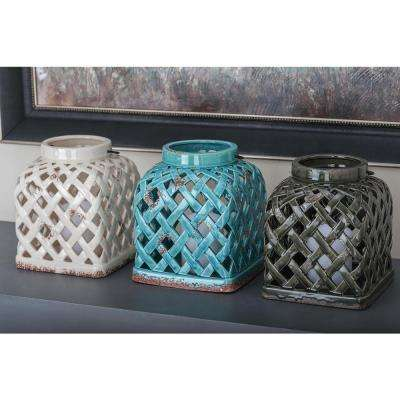 9 in. Distressed Ceramic Woven Candle Lanterns (3-Pack)