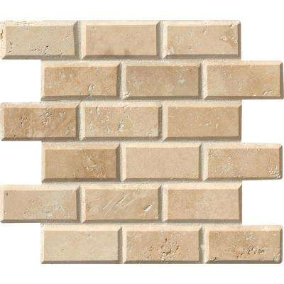 Tuscany Ivory 12 in. x 12 in. x 10 mm Honed Beveled Travertine Mesh-Mounted Mosaic Tile