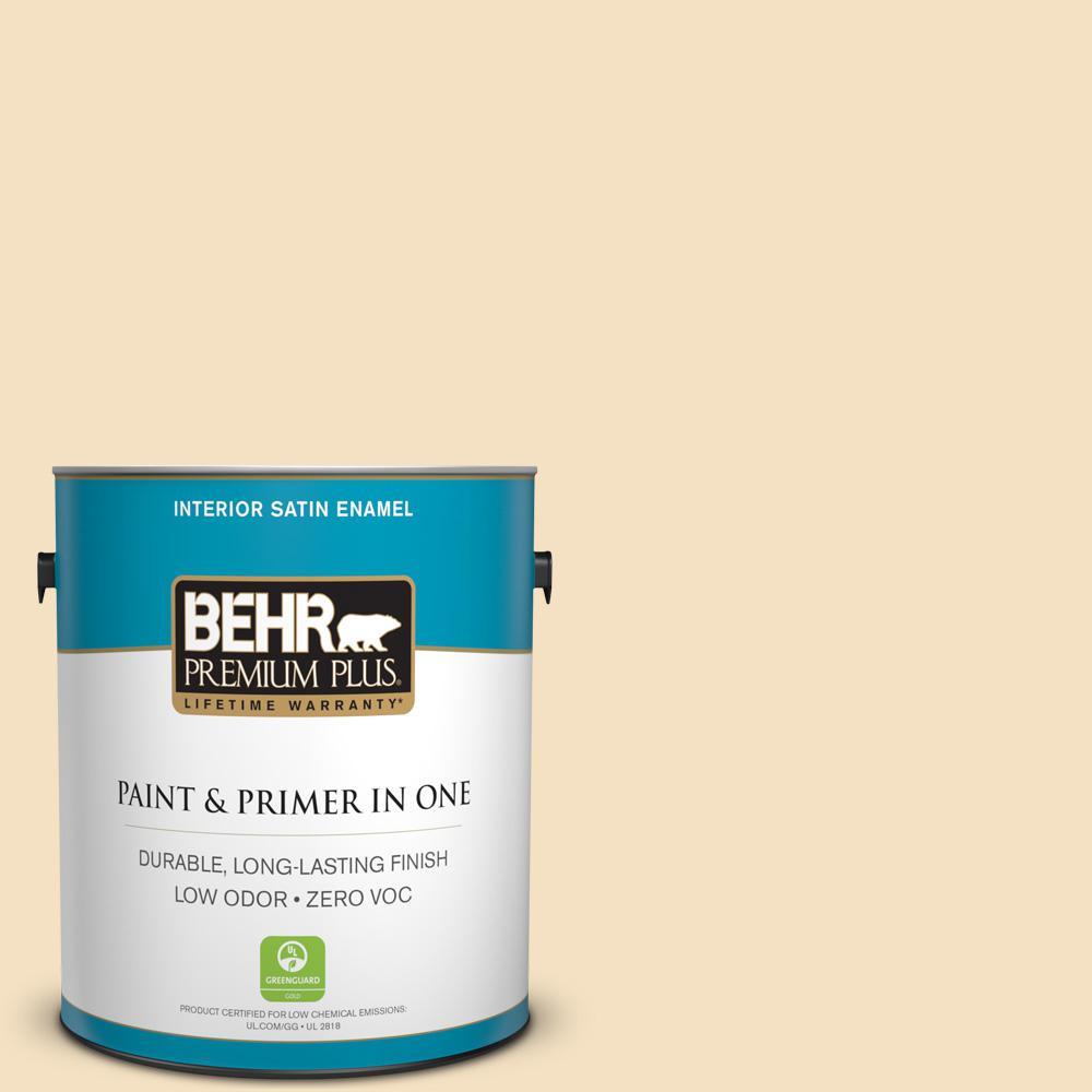 BEHR Premium Plus 1-gal. #PPL-41 Tea Cookie Zero VOC Satin Enamel Interior Paint