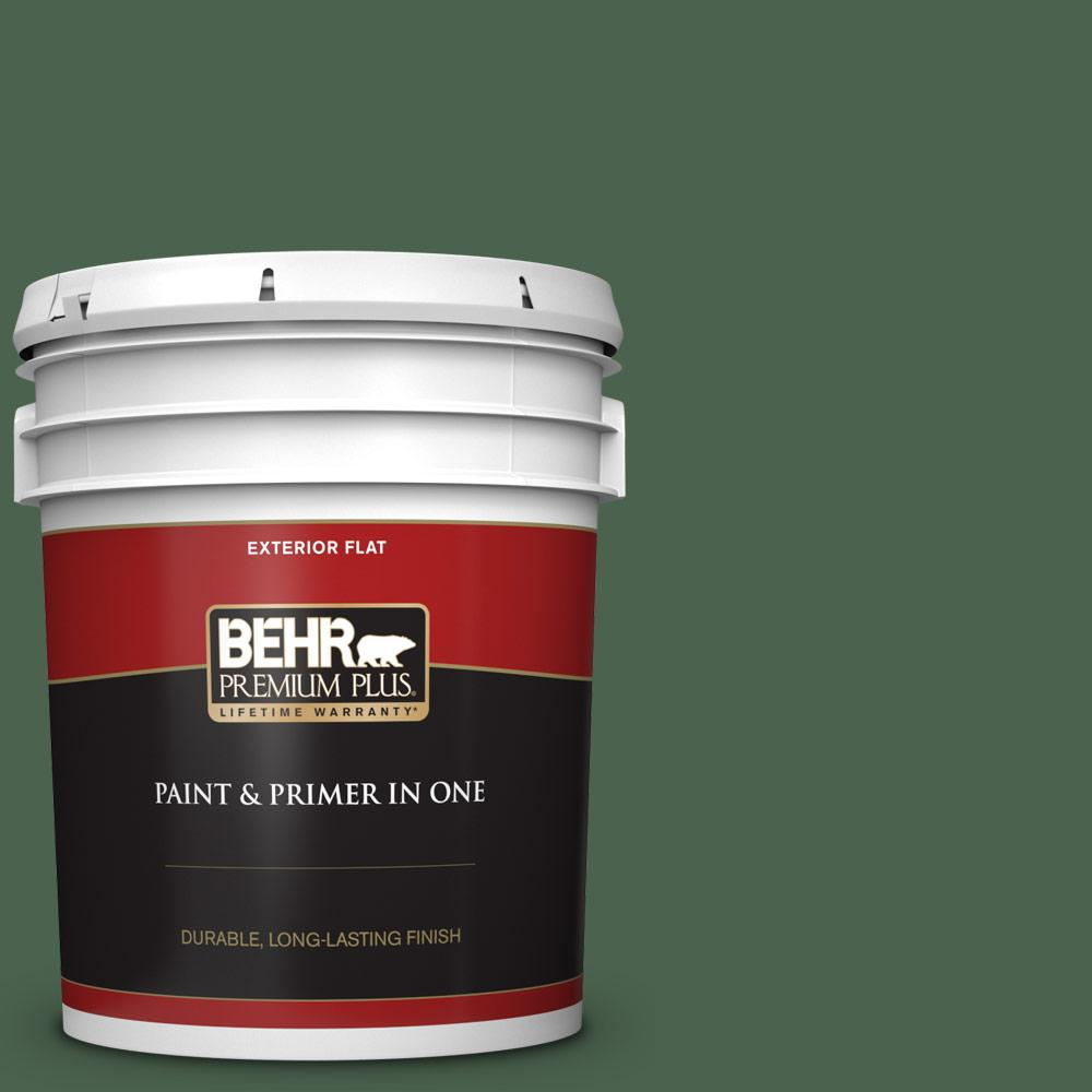 Behr Premium Plus 5 Gal S410 7 Equestrian Green Flat Exterior Paint And Primer In One 430005 The Home Depot