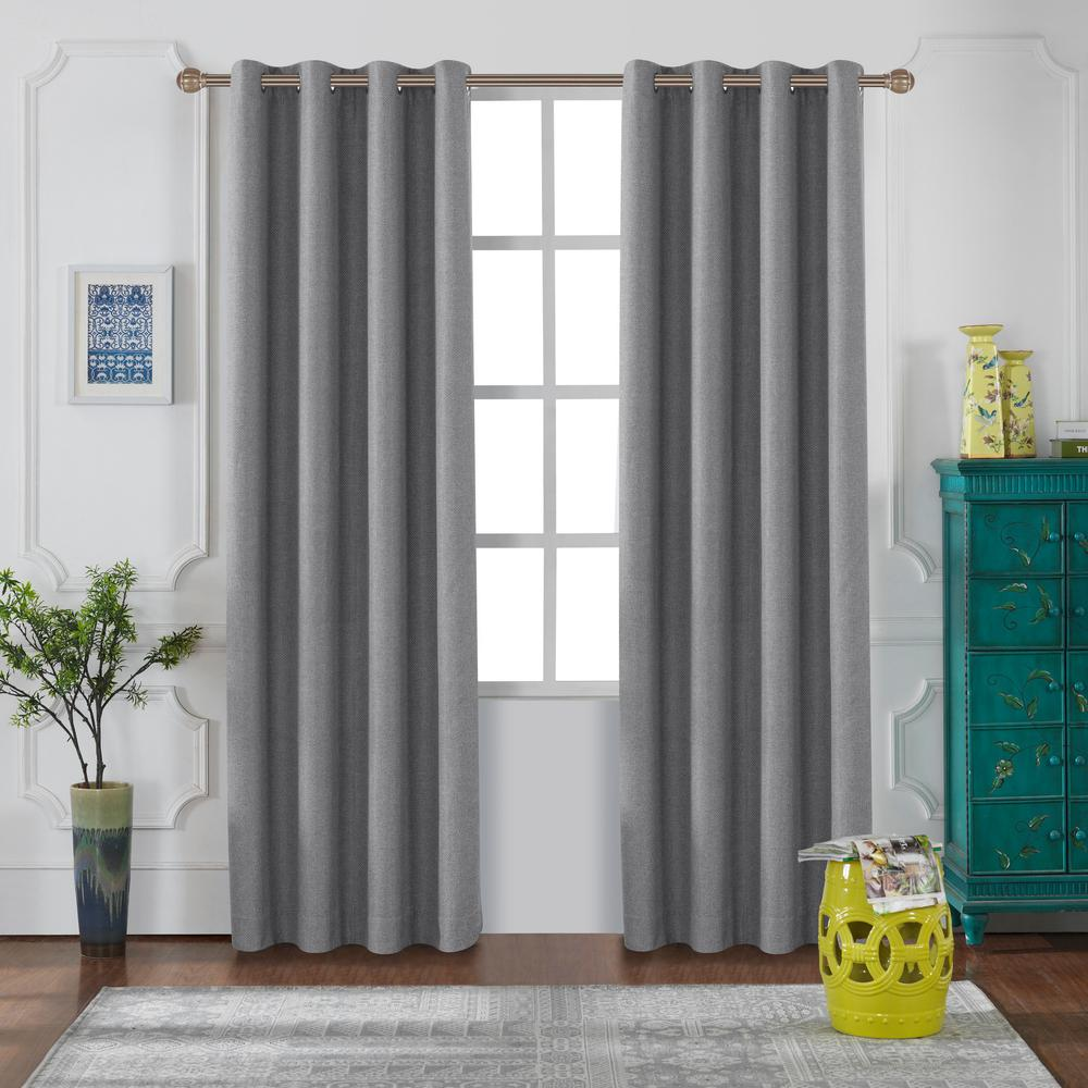 Lyndale Decor Venus 126 in. L x 52 in. W Blackout Polyester Curtain in Grey