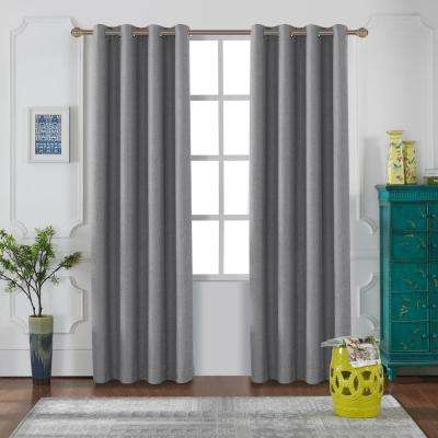 Venus 95 in. L x 52 in. W Blackout Polyester Curtain in Grey