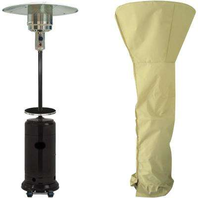 7 ft. 41,000 BTU Black Steel Umbrella Propane Patio Heater with Weather-Protective Cover