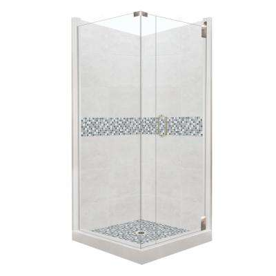 Del Mar Grand Hinged 36 in. x 36 in. x 80 in. Right-Hand Corner Shower Kit in Natural Buff and Satin Nickel